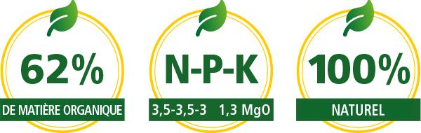 Granulés bio Komeco spécialement pour l'agriculture biologique.